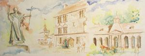 *789- Le seul qui me reste. Un de mes nombreux  panoramiques de Luxeuil ,tous peints sur place...85 x 33