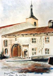 167- le village de Deyvillers près d'Épinal ,aquarelle 40X40