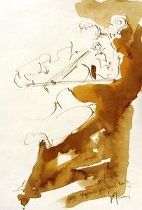 * 536- lavis merisier, répetition des élèves de l'Ecole nationale de Musique d'Epinal , 20 x 30