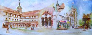 782- Un de mes nombreux  panoramiques de Luxeuil ,tous peints sur place...85 x 33