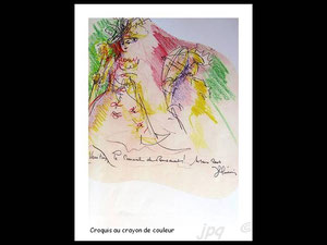 *759- peint en direct, 21 x 30, Arches 300 gr, crayon de couleur