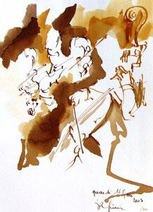 * 532- lavis merisier, répetition des élèves de l'Ecole nationale de Musique d'Epinal , 20 x 30