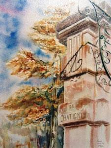 791- Grande aquarelle sur Luxeuil, 50 x 70