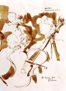 * 530- lavis merisier, répetition des élèves de l'Ecole nationale de Musique d'Epinal , 20 x 30