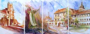 784- Un de mes nombreux  panoramiques de Luxeuil ,tous peints sur place...85 x 33