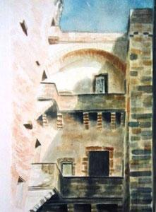 792- Grande aquarelle sur Luxeuil, 50 x 70