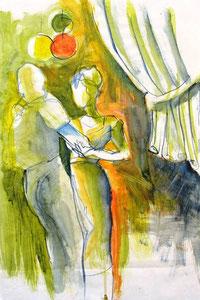 *548-La guinguette de La Croisette d'Hérival à Remiremont, 50 x 70 ,Acrylique sur papier glacé