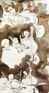 * 535- lavis sépia, répetition des élèves de l'Ecole nationale de Musique d'Epinal , 20 x 30