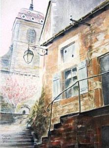 794- Grande aquarelle sur Fougerolles, 50 x 70