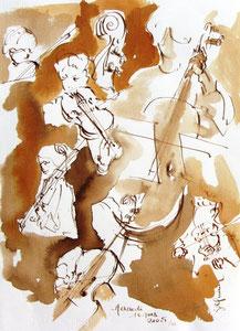* 531- lavis merisier, répetition des élèves de l'Ecole nationale de Musique d'Epinal , 20 x 30