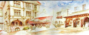 786- Un de mes nombreux  panoramiques de Luxeuil ,tous peints sur place...85 x 33