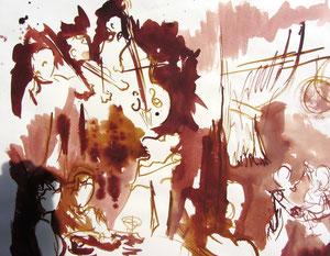* 534- lavis merisier et bistre, répetition des élèves de l'Ecole nationale de Musique d'Epinal , 20 x 30