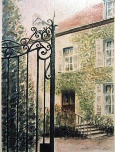 790- Grande aquarelle sur Luxeuil, 50 x 70