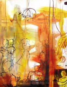 *549-La guinguette de La Croisette d'Hérival à Remiremont, 50 x 70 ,Acrylique sur papier glacé