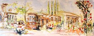 *162 - La Maison Romaine à Épinal , encadrée ,aquarelle 85X33 ,arches 350g blanc