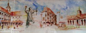 781- Un de mes nombreux  panoramiques de Luxeuil ,tous peints sur place...85 x 33
