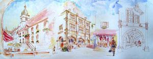 785- Un de mes nombreux  panoramiques de Luxeuil ,tous peints sur place...85 x 33