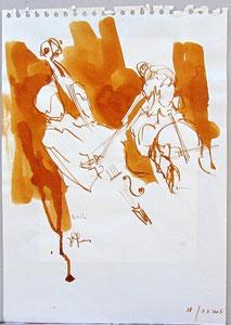 * 525- lavis merisier, répetition des élèves de l'Ecole nationale de Musique d'Epinal , 20 x 30