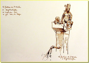 * 8a  Voegtlinshoffen,la fontaine St-Nicolas, village alsace
