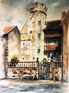 800- Grande aquarelle sur Luxeuil, 50 x 70