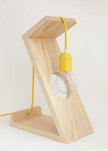 lampe contemporaine bois et jaune