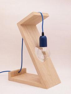 lampe contemporaine bois bleu