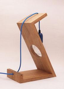 Lampe design bois cable bleu