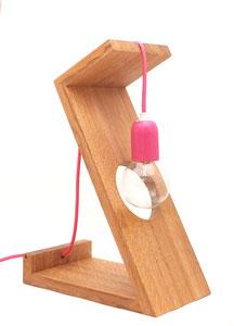 lampe design bois cable rose