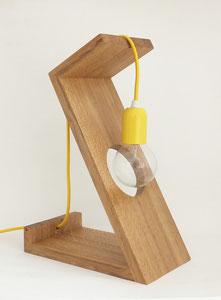 lampe design bois cable jaune