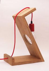 Lampe design bois cable rouge