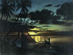 Mac Phee Tahitian Sunset 67x87 Peinture sur velour VSO