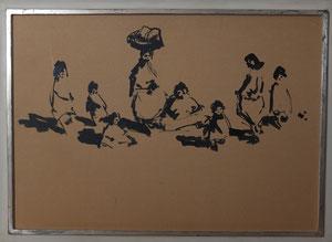 Frau mit Kindern, Tusche auf Karton, Format ca. 46 x 66 cm, Modellrahmen 53 x 73 cm, EUR 480,--