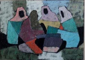 Beduinen, Kaseinmalerei auf Hartfaserplatte, Format ca. 50 x 70 cm, Rahmen 64 x 84 cm, EUR 625,--