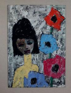Mädchen mit Blumen, Kaseinmalerei auf Holzplatte, Format ca. 65 x 45 cm, Rahmen 87 x 56 cm, EUR 750,--
