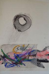 Collage mit Zen-Kreis/48,0x69,0cm/ID: 3S68-0343