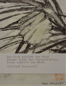 Mond und Palmenblätter/Sumi-e/Haiku/1984/10,3x13,5cm/ID: M63-0129