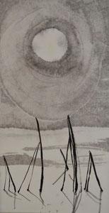 Heinzen im Schnee/Sumi-e/17,5x33,5cm/ID: 6S30-773,1