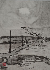 Vollmond und Vögel/Sumi-e/1991/17,3x26,7cm/ID: 6S40-0784,1/300.-€