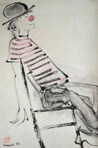 Clown auf Stuhl/1986/23,0x34,0cm/ID:X14-1494