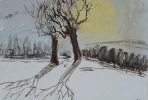 Obstbäume im Winter/Sumi-e/1988/52,5x43,5/ID: 8S75-1008