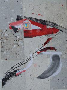 Collage mit selbstgeschöpftem Papier/45,0x60,0cm/ID: 9S86-1161/780.-€