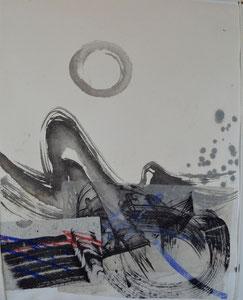 Abstraktion mit Zen-Kreis, Collage/48,0x68,5/3S71-0346