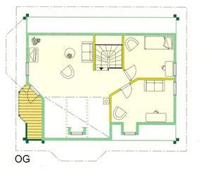 Kuusamo Blockhaus - OG-Grundriss - Entwurf - Massivholz - Holz - Holzhaus - Planung  - Entwurfsplanung  - Bauplanung - Wohnküche - Schlafzimmer mit Kleiderkammer - Bad - Sauna - Diele - Gäste-WC - Arbeitszimmer - Kinderzimmer - Schlafzimmer  - WC