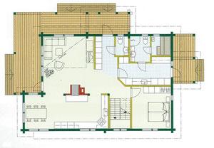 Ein Entwurf für Wohnblockhaus - Holzhaus in Blockbauweise - EG auf Wunsch mit Sauna