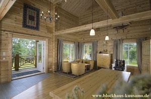 Kuusamo Blockhaus - Innenansicht eines Blockhauses nach rustikaler Art - Zweitwohnsitz - Einfamilienhaus - schlüsselfertiges Holzhaus - Winterfeste, langlebige Holzhäuser aus Finnland  - Bauträger - Einfamilienhaus - Immobilie - Neubau - Hersteller - Bau