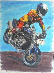 Motorradfahrer Malkarton 90cm x 60cm für meinen Bruder
