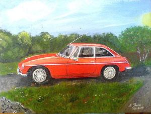 Oldtimer in Rot Acryl auf Leinwand für meine Cousine für Ihren Schwiegervater 30cm x 40 cm