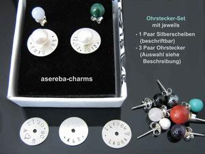Ohrstecker-Set mit diversen Edelsteinen und beschriftbarer Silberscheibe