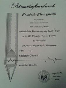 Orgelpfeifen-Patenschaftsurkunde