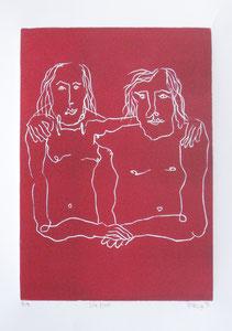 Die Zwei 2016 Linolschnitt 30 x 21 cm